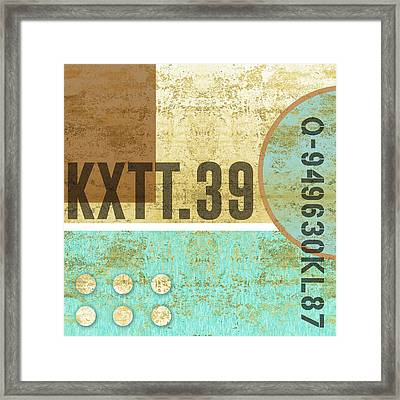 Contemporary Abstract Industrial Art - Distressed Metal - Blue And Sand Framed Print