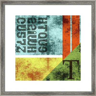 Contemporary Abstract Industrial Art - Distressed Metal - Blue, Green, Yellow Framed Print