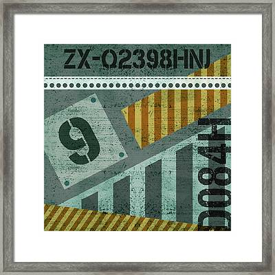 Contemporary Abstract Industrial Art - Distressed Metal - Olive Framed Print