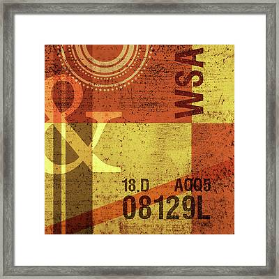 Contemporary Abstract Industrial Art - Distressed Metal - Olive Yellow And Orange Framed Print