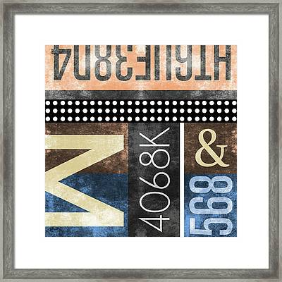 Contemporary Abstract Industrial Art - Distressed Metal - Typographic Framed Print