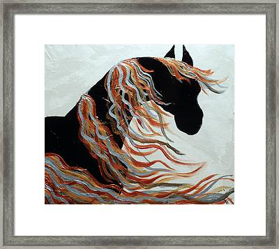 Contemporary Abstract Metallic Horse  Framed Print by Holly Anderson