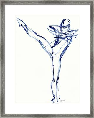 Contemporary Ballet Dancer, Blue Framed Print