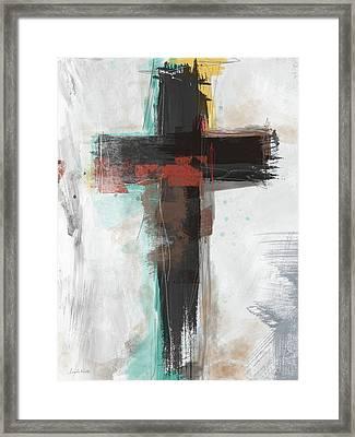 Contemporary Cross 1- Art By Linda Woods Framed Print