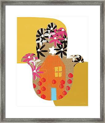 Framed Print featuring the mixed media Contemporary Hamsa With House- Art By Linda Woods by Linda Woods