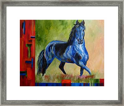 Contemporary Horse Painting Fresian Framed Print