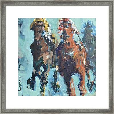 Contemporary Horse Racing Painting Framed Print