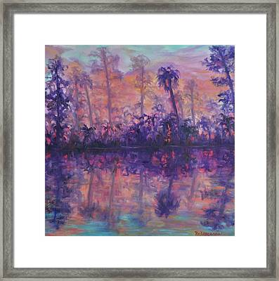 Contemporary Nature Painting Tropical Lake Sunset Framed Print