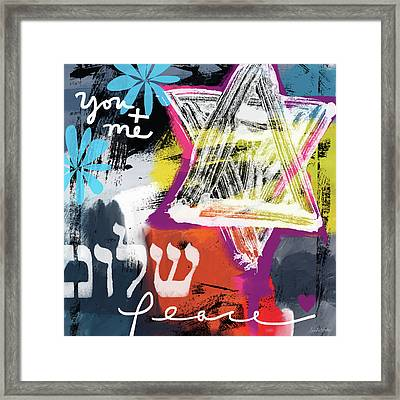 Contemporary Peace Star- Judaic Art By Linda Woods Framed Print