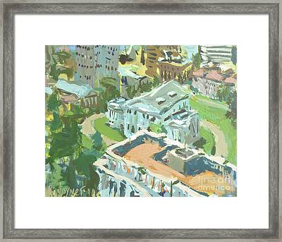 Framed Print featuring the painting Contemporary Richmond Virginia Cityscape Painting Featuring Virginia State Capitol Building by Robert Joyner