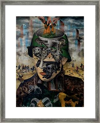 Framed Print featuring the painting Contemporary War by Obie Platon