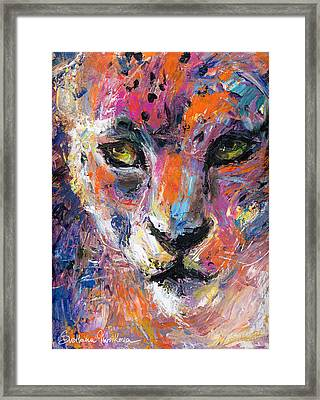 contemporary Wildlife painting cheetah leopard  Framed Print
