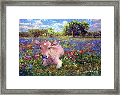 Contented Cow In Colorful Meadow Framed Print