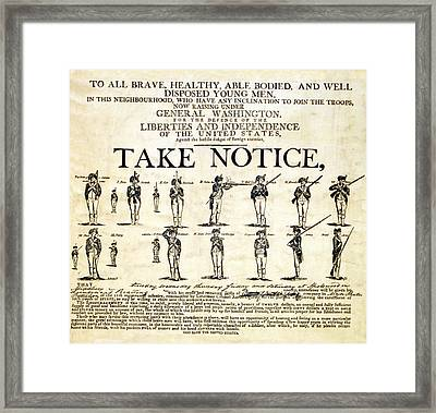 Continental Army Recruitment Broadside Framed Print by Everett
