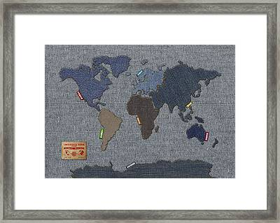 Continental Denim World Map Framed Print by Michael Tompsett