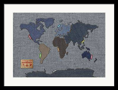 America The Continent Mixed Media Framed Prints