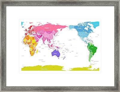 Continents World Map Framed Print by Michael Tompsett