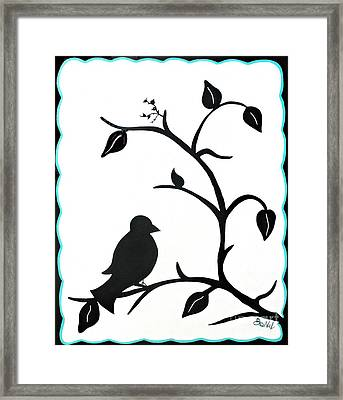 Contrast Black And White Birdie Framed Print by JoNeL Art