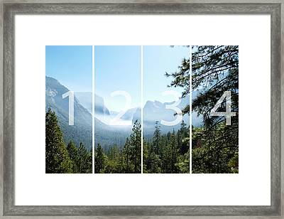 Controlled Burn Of Yosemite Panoramic Map Framed Print