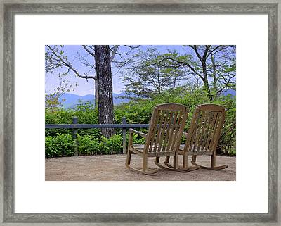 A Conversation Between Trees And Two Wooden Rocking Chairs Framed Print
