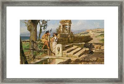 Conversation By The Spring Framed Print