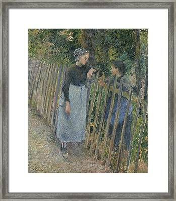 Conversation Framed Print by Camille Pissarro