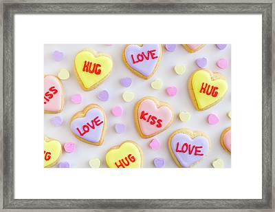 Framed Print featuring the photograph Conversation Heart Cookie Love by Teri Virbickis