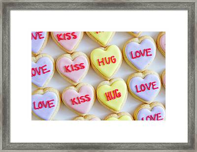 Framed Print featuring the photograph Conversation Heart Decorated Cookies by Teri Virbickis