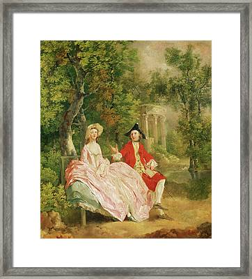 Conversation In A Park Framed Print by Thomas Gainsborough