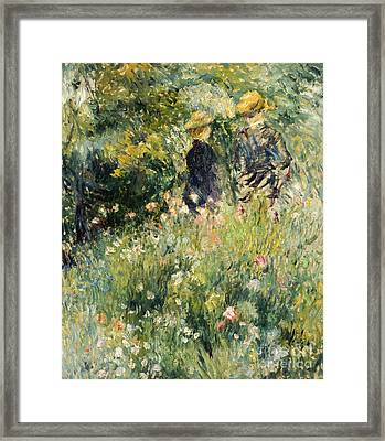 Conversation In A Rose Garden Framed Print by Pierre Auguste Renoir