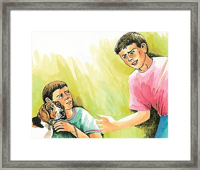 Conversation Framed Print by Jey Manokaran