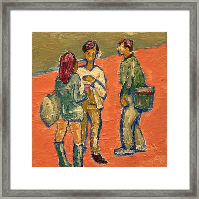 Conversation On Campus Framed Print