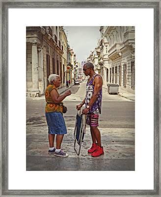 Conversation On The Prado, Havana Framed Print by Cheryl Kurman