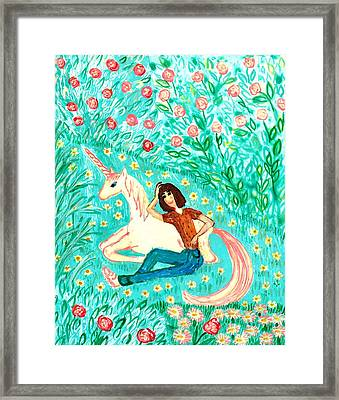 Conversation With A Unicorn Framed Print by Sushila Burgess