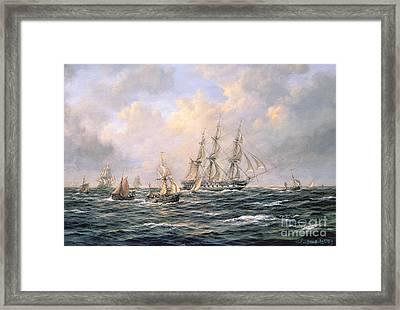 Convoy Of East Indiamen Amid Fishing Boats Framed Print by Richard Willis