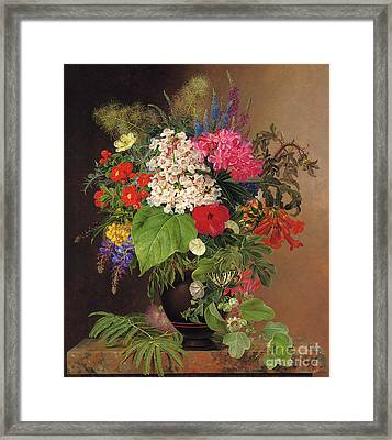 Convulvulus, Lupins, Speedwell And Fuschia In A Vase Framed Print