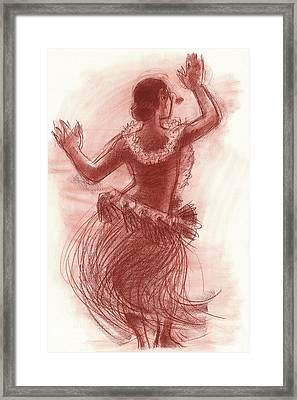 Cook Islands Drum Dancer From The Back Framed Print