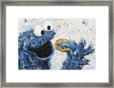 Cookie Monster Inspired Framed Print