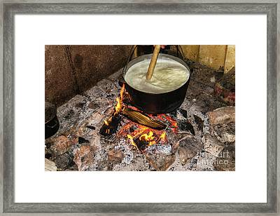 Cooking Fires In A Black Iron Pot Framed Print by Oleksandr Masnyi