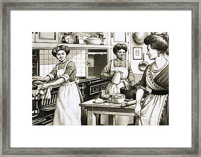 Cooking In Edwardian Times Framed Print