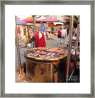 Framed Print featuring the photograph Cooking Meat And Eggs On A Huge Grill by Yali Shi