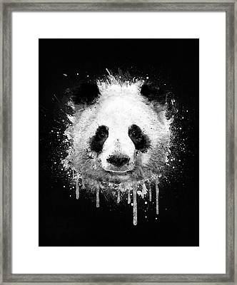Cool Abstract Graffiti Watercolor Panda Portrait In Black And White  Framed Print by Philipp Rietz