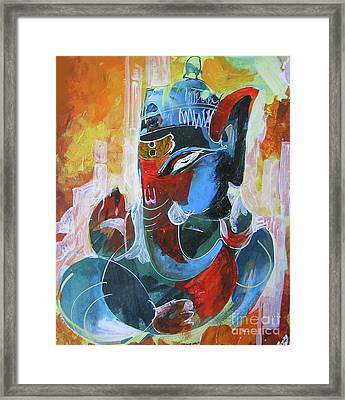 Cool And Graphical Lord Ganesha Framed Print