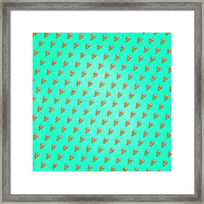 Cool And Trendy Pizza Pattern In Super Acid Green   Turquoise   Blue Framed Print