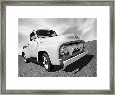 Cool As Ice - 1954 Ford F-100 In Black And White Framed Print