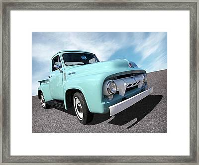 Cool As Ice - 1954 Ford F-100 Glacier Blue Framed Print