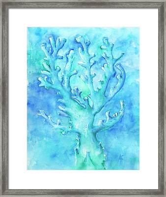 Cool Blue Coral Framed Print