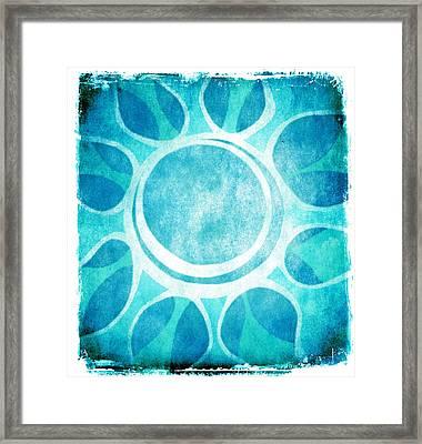 Cool Blue Flower Framed Print by Lenny Carter