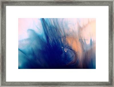Cool Blue Liquid Abstract Art Fluid Painting By Kredart Framed Print