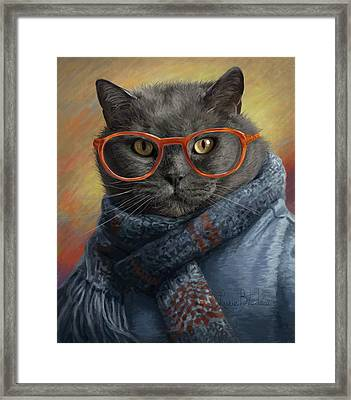 Cool Cat Framed Print by Lucie Bilodeau